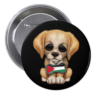Cute Puppy with Palestinian Flag Dog Tag, black Pin