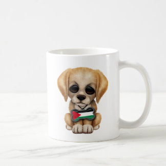 Cute Puppy with Palestinian Flag Dog Tag Mugs