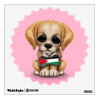 Cute Puppy with Palestinian Flag Dog Tag, pink Wall Decal