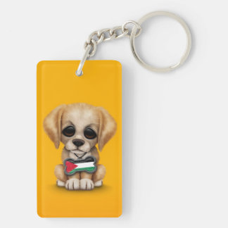 Cute Puppy with Palestinian Flag Dog Tag, yellow Double-Sided Rectangular Acrylic Keychain