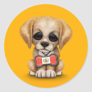 Cute Puppy with Peruvian Flag Dog Tag, yellow Round Sticker