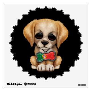 Cute Puppy with Portuguese Flag Dog Tag, black Wall Decal