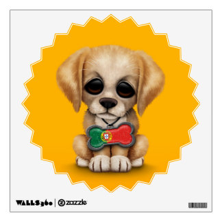 Cute Puppy with Portuguese Flag Dog Tag, yellow Wall Sticker