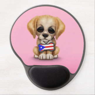 Cute Puppy with Puerto Rican Flag Dog Tag, Pink Gel Mousepads