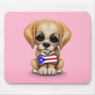 Cute Puppy with Puerto Rican Flag Dog Tag, Pink Mouse Pads