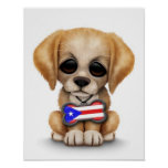 Cute Puppy with Puerto Rican Flag Dog Tag, White Print