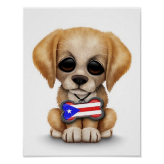 Cute Puppy with Puerto Rican Flag Dog Tag, White Poster