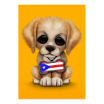 Cute Puppy with Puerto Rican Flag Dog Tag, yellow Business Card Template