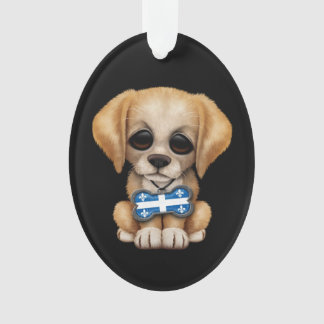 Cute Puppy with Quebec Flag Dog Tag, black