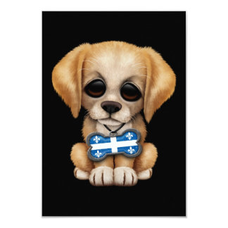 Cute Puppy with Quebec Flag Dog Tag, black 3.5x5 Paper Invitation Card