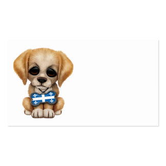 Cute Puppy with Quebec Flag Dog Tag Business Card
