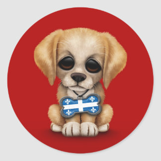 Cute Puppy with Quebec Flag Dog Tag, red Classic Round Sticker