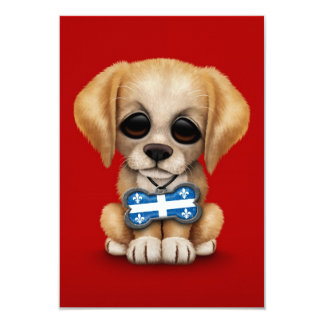 Cute Puppy with Quebec Flag Dog Tag, red 3.5x5 Paper Invitation Card