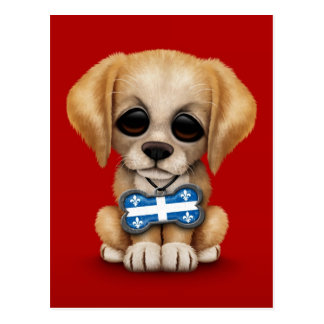 Cute Puppy with Quebec Flag Dog Tag, red Postcard