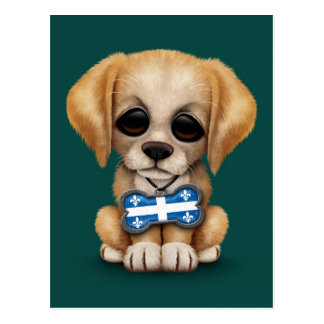 Cute Puppy with Quebec Flag Dog Tag, teal Postcard