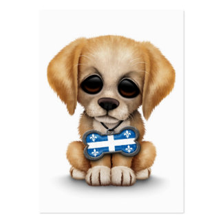 Cute Puppy with Quebec Flag Dog Tag white Business Card Templates