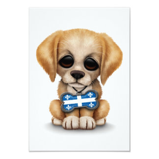 Cute Puppy with Quebec Flag Dog Tag, white 3.5x5 Paper Invitation Card