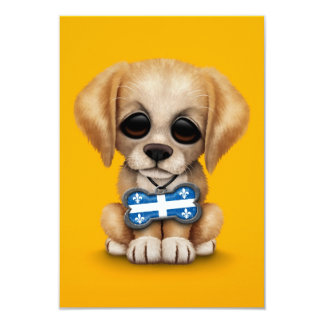 Cute Puppy with Quebec Flag Dog Tag, yellow 3.5x5 Paper Invitation Card