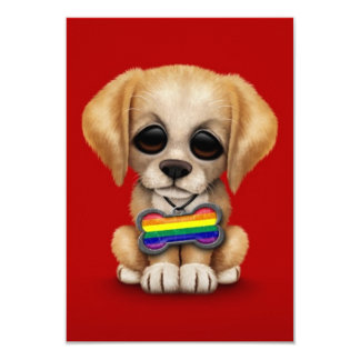 Cute Puppy with Rainbow Gay Pride Flag Tag, Red Card