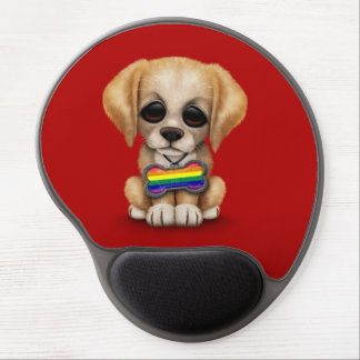 Cute Puppy with Rainbow Gay Pride Flag Tag, Red Gel Mouse Pad