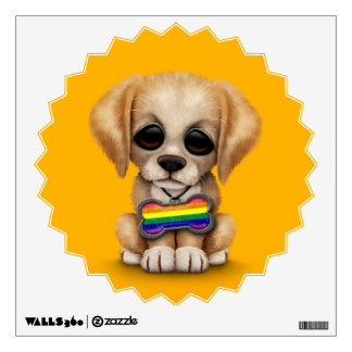 Cute Puppy with Rainbow Gay Pride Flag Tag, Yellow Wall Sticker