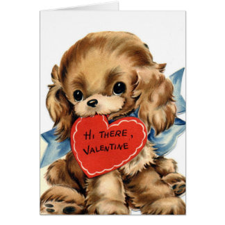 Cute Puppy with Red Heart Valentine's Day Card