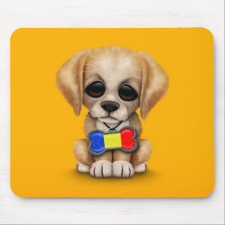 Cute Puppy with Romanian Flag Dog Tag, yellow Mouse Pad