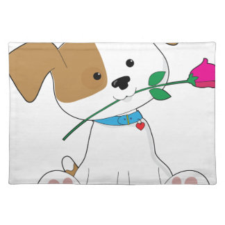 Cute Puppy with Rose Cloth Placemat