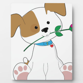 Cute Puppy with Rose Plaque