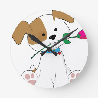 Cute Puppy with Rose Round Clock