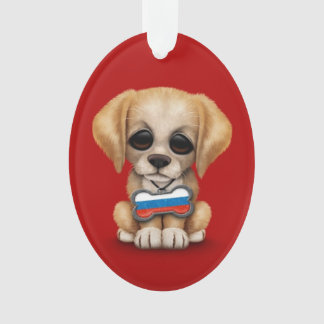 Cute Puppy with Russian Flag Dog Tag, red Ornament