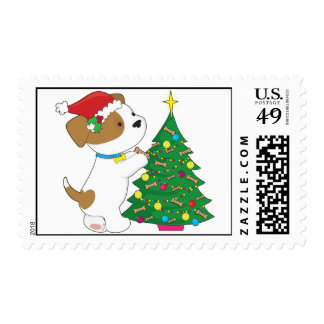 Cute Puppy with Santa Hat and Tree Stamp