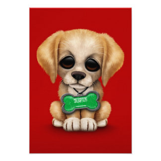Cute Puppy with Saudi Arabian Flag Dog Tag, red Personalized Announcement