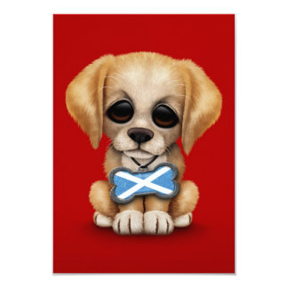 Cute Puppy with Scottish Flag Dog Tag, red Card