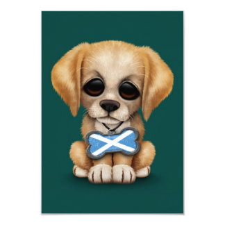 Cute Puppy with Scottish Flag Dog Tag, teal Card