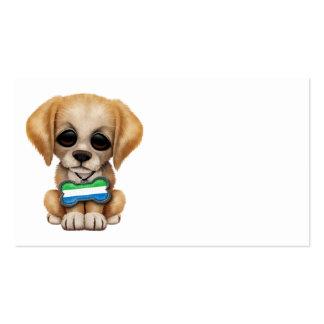 Cute Puppy with Sierra Leone Flag Dog Tag Business Card