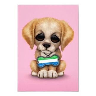 Cute Puppy with Sierra Leone Flag Dog Tag, pink Card