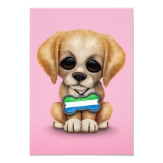 Cute Puppy with Sierra Leone Flag Dog Tag, pink 3.5x5 Paper Invitation Card