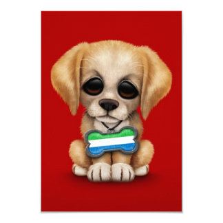 Cute Puppy with Sierra Leone Flag Dog Tag, red 3.5x5 Paper Invitation Card