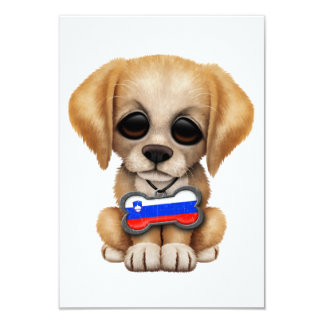 Cute Puppy with Slovenian Flag Dog Tag Card