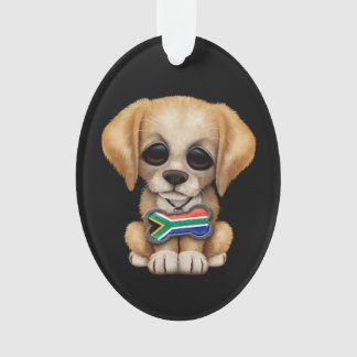 Cute Puppy with South African Flag Dog Tag, black