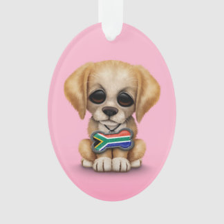 Cute Puppy with South African Flag Dog Tag, pink