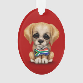 Cute Puppy with South African Flag Dog Tag, red