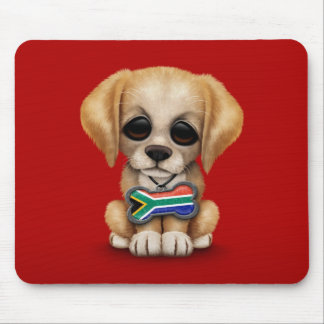 Cute Puppy with South African Flag Dog Tag, red Mouse Pad