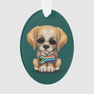 Cute Puppy with South African Flag Dog Tag, teal