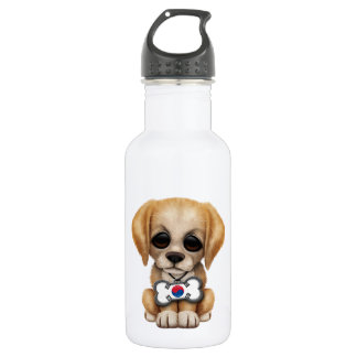 Cute Puppy with South Korean Flag Dog Tag Water Bottle