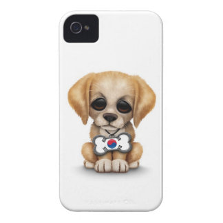Cute Puppy with South Korean Flag Dog Tag white iPhone 4 Case-Mate Cases