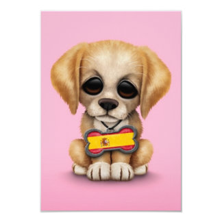 Cute Puppy with Spanish Flag Dog Tag, pink Announcements