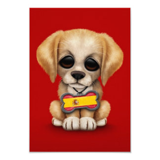 Cute Puppy with Spanish Flag Dog Tag, red Personalized Announcement