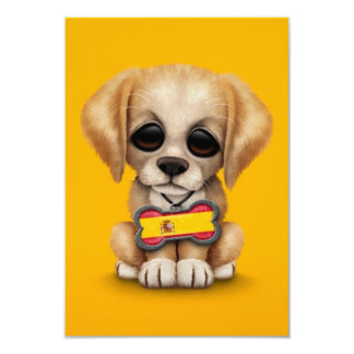 Cute Puppy with Spanish Flag Dog Tag, yellow Personalized Invitations